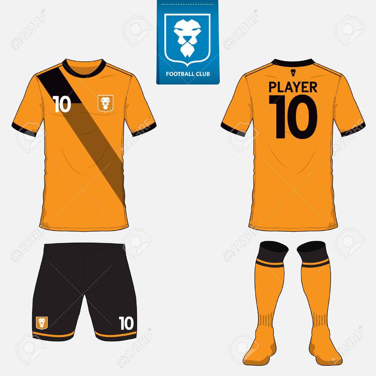 Conjunto de juego de fútbol o plantilla de camiseta de fútbol para el club  de fútbol 20fd8b35bc312