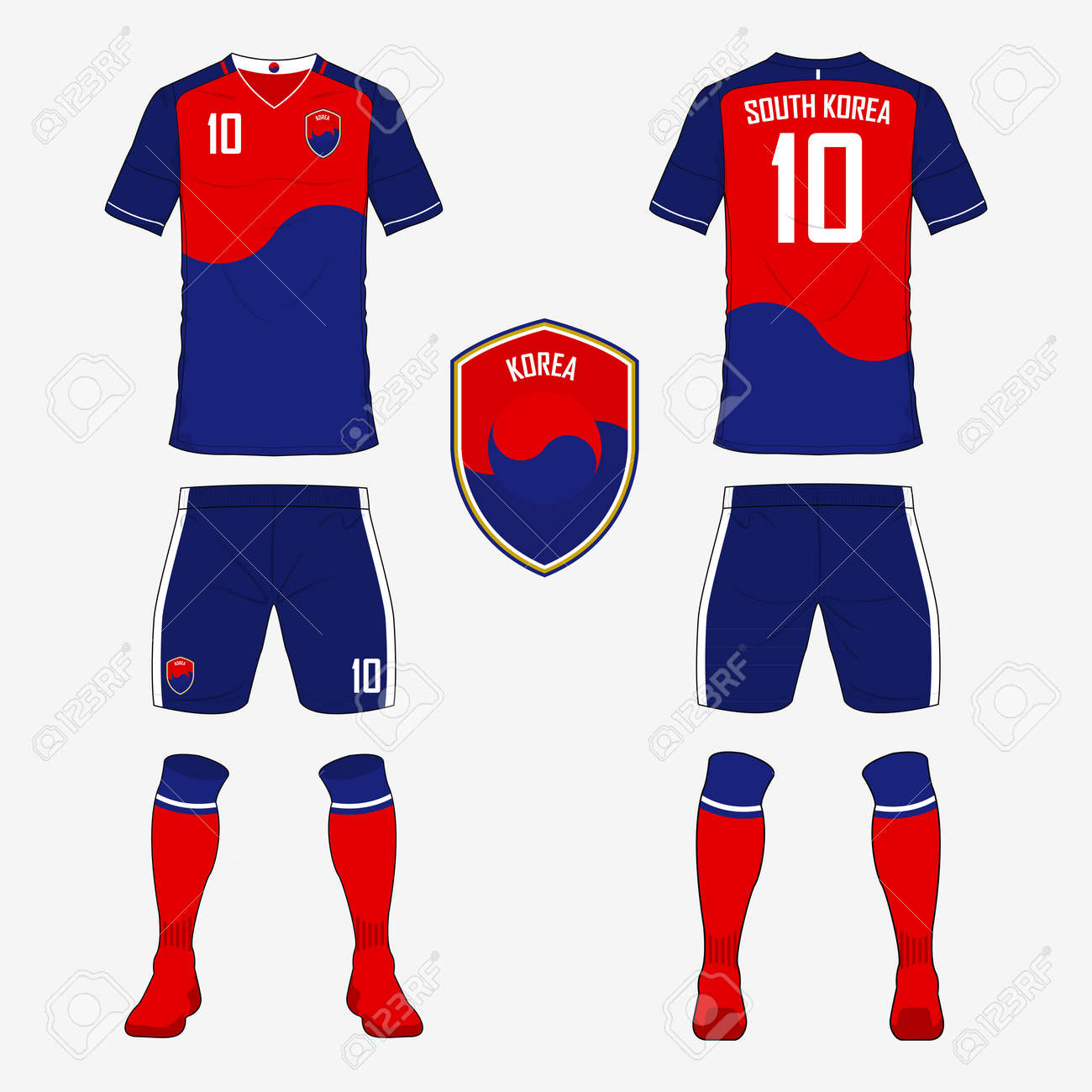 e64953d30 Vector Illustration. Set of soccer jersey or football kit template for South  Korea national football team. Front