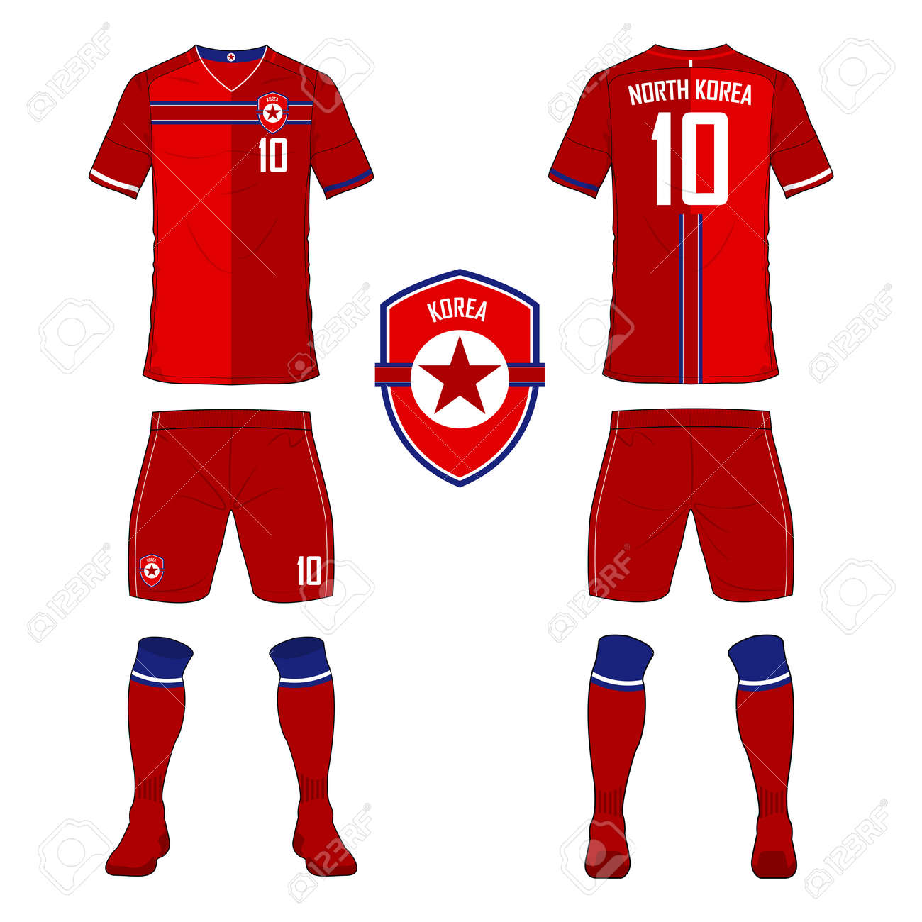 a3eae84c6f7 Set of soccer jersey or football kit template for North Korea national  football team. Front