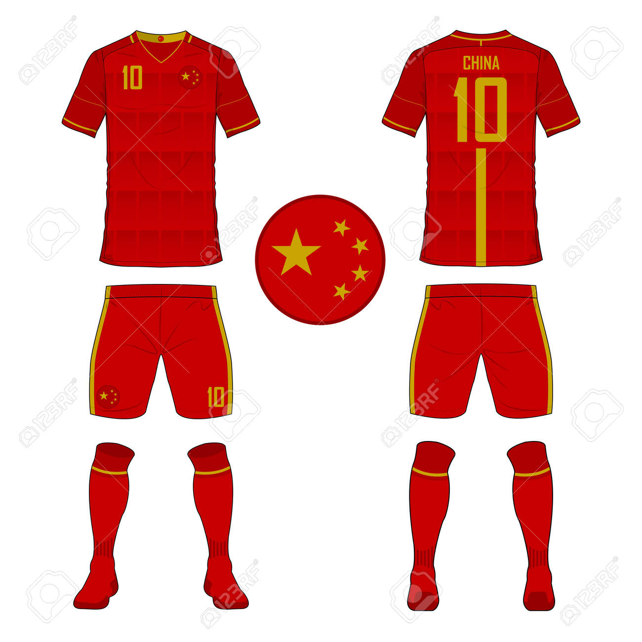 Set of soccer jersey or football kit template for China national..