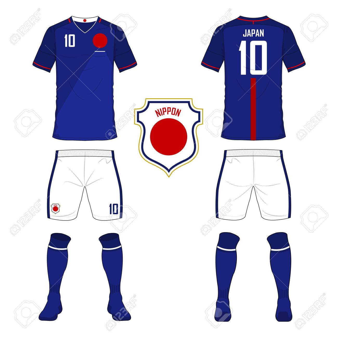 huge selection of 8b9b8 64ec5 Set of soccer jersey or football kit template for Japan national..