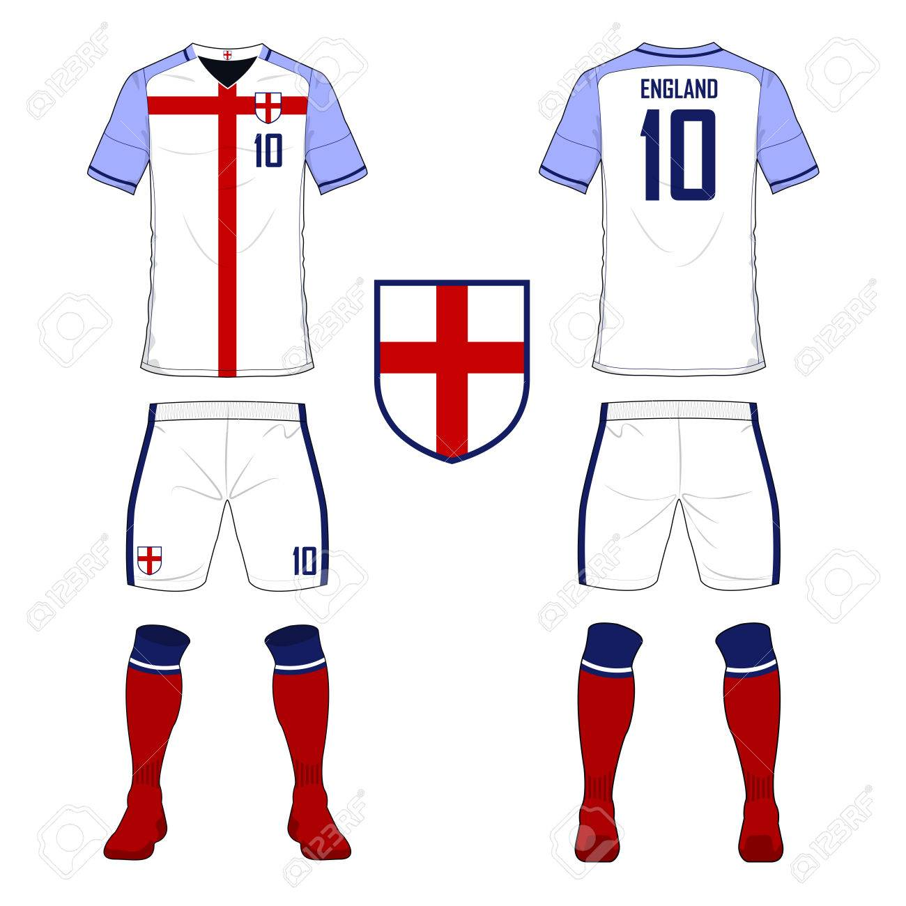 7319aefd Set of soccer jersey or football kit template for England national football  team. Front and