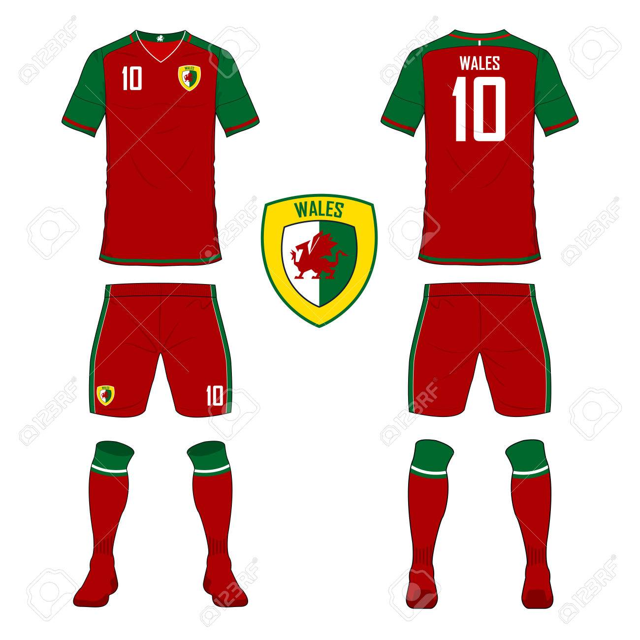 the latest 431b9 d1fa1 Set of soccer jersey or football kit template for Wales national..