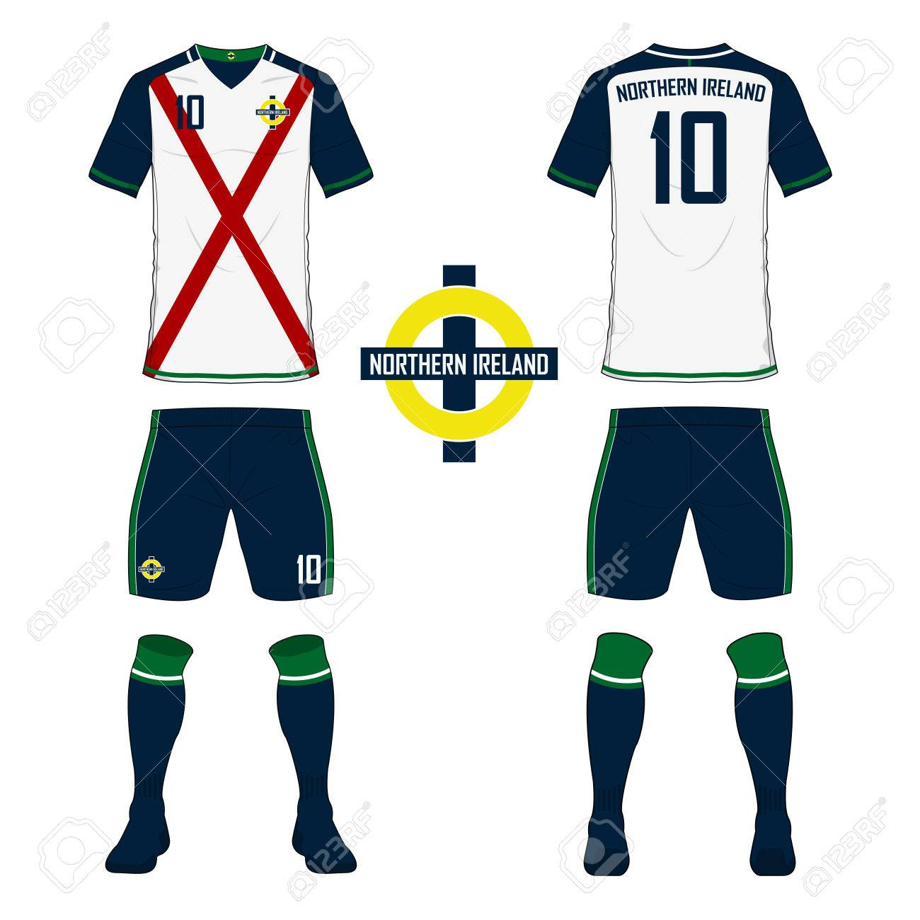 0ae911a6299 Set of soccer jersey or football kit template for Northern Ireland national  football team. Front
