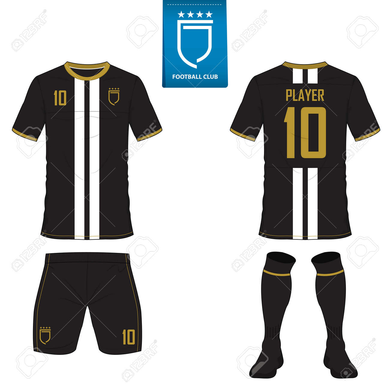 Set of soccer kit or football jersey template for football club. Flat football logo on blue label. Front and back view soccer uniform. Football shirt mock up. Vector Illustration. - 70758176