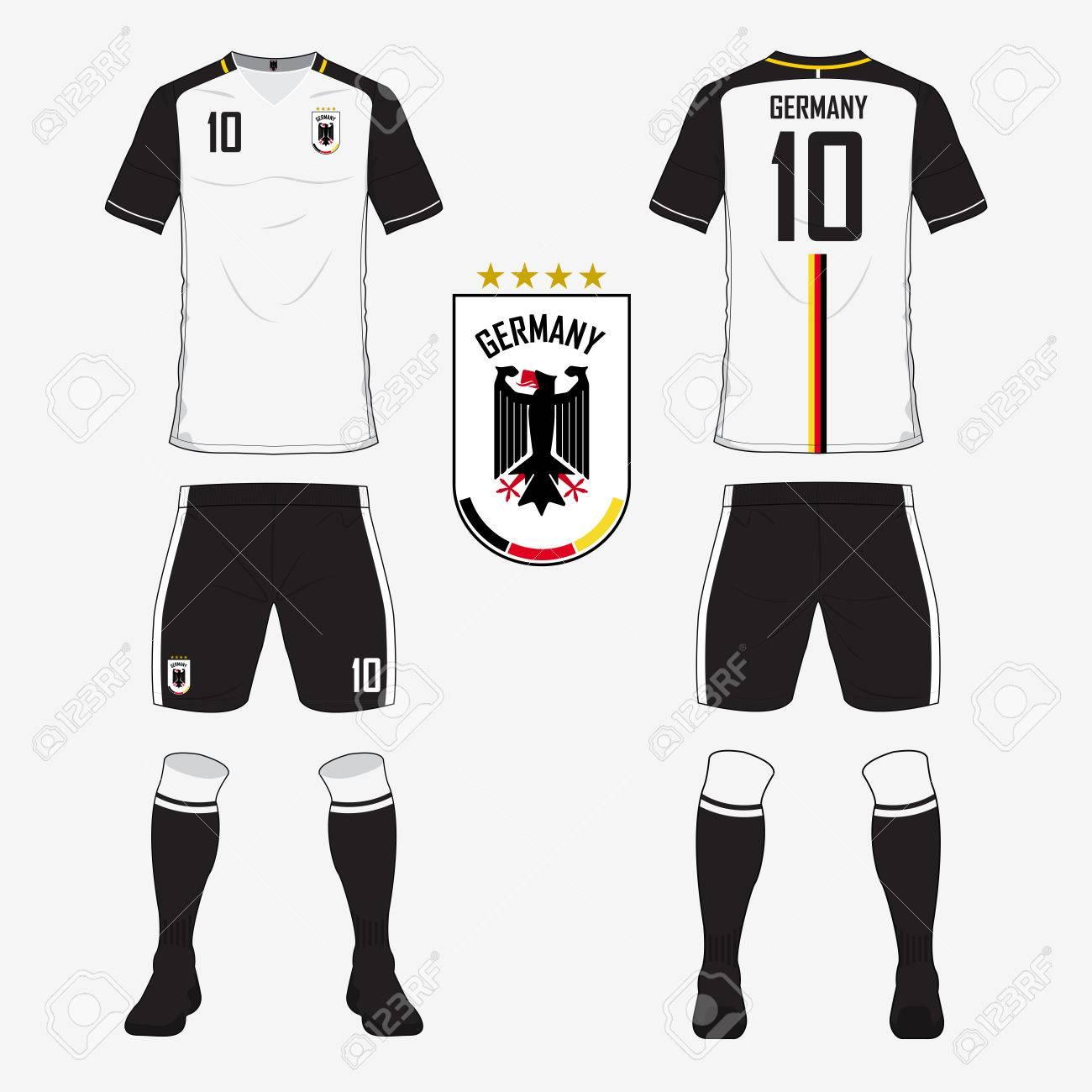 Conjunto De Camiseta De Fútbol O Una Plantilla Kit De Fútbol De Alemania  Equipo Nacional De Fútbol. Parte Delantera Y Trasera Vista Uniforme De  Fútbol. 811f97afdc4d2