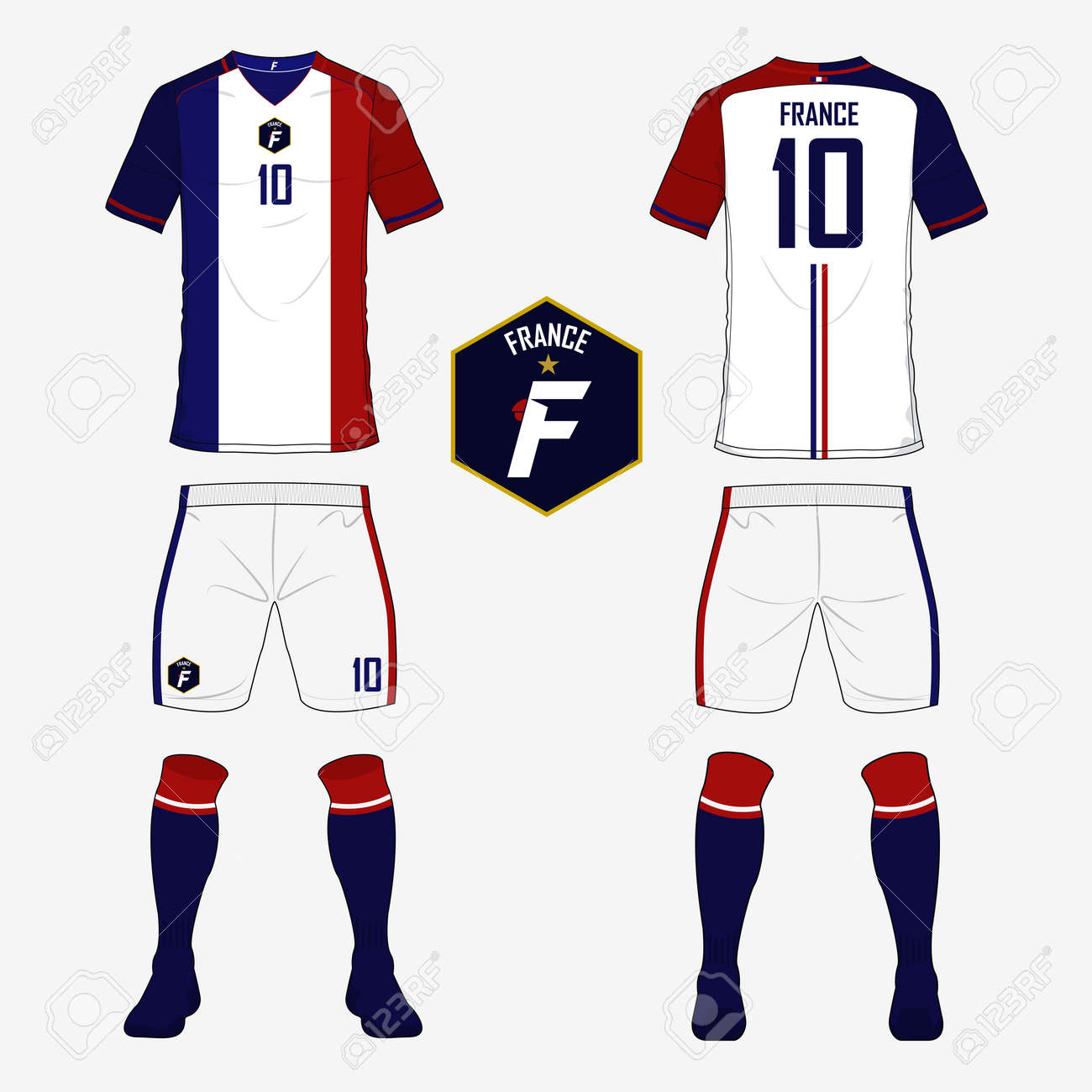 san francisco 39376 d5226 Set of soccer jersey or football kit template for France national..