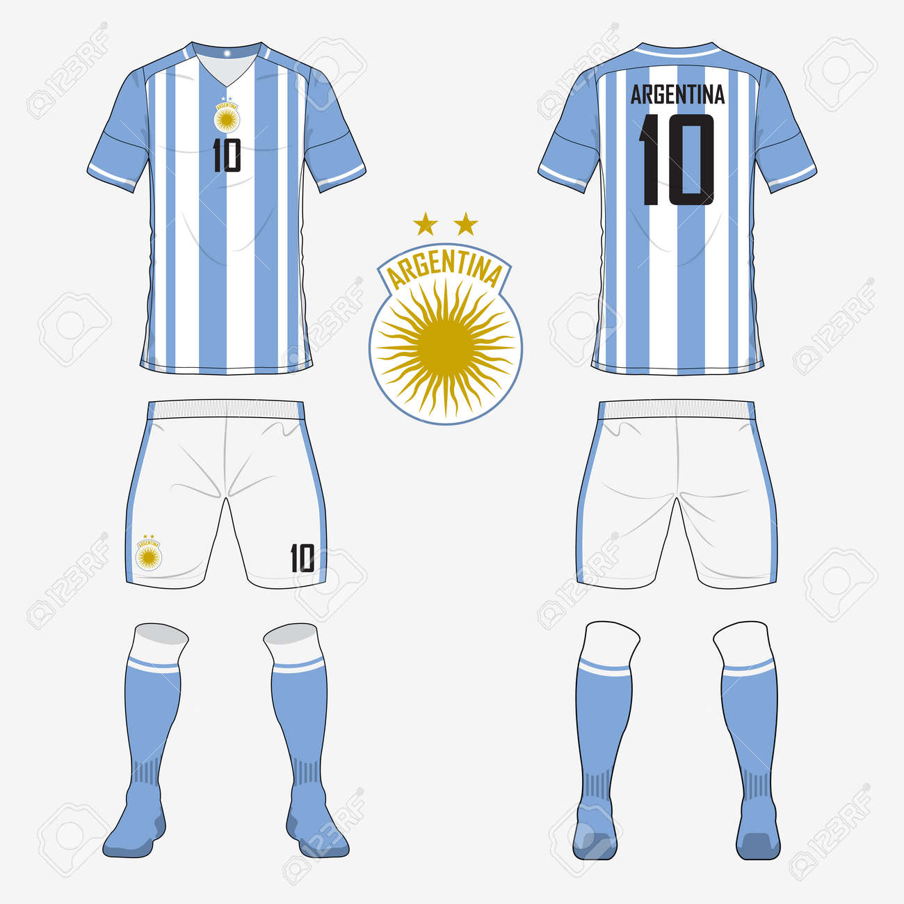 1195e54cd Set of soccer jersey or football kit template for Argentina national  football team. Front and