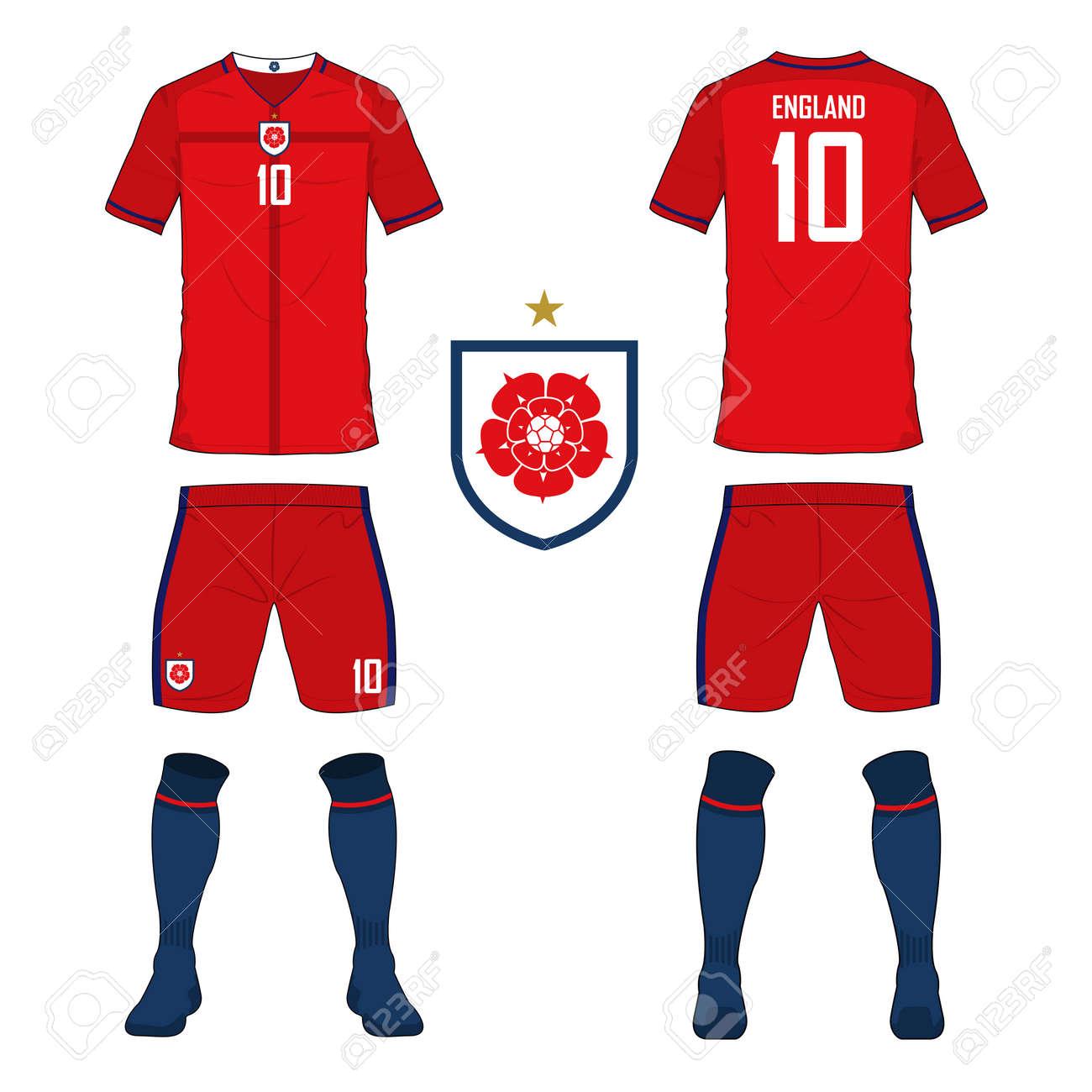 e6503e11307ab Conjunto De Camiseta De Fútbol O Una Plantilla Kit De Fútbol De Inglaterra  Equipo Nacional De Fútbol. Parte Delantera Y Trasera Vista Uniforme De  Fútbol.