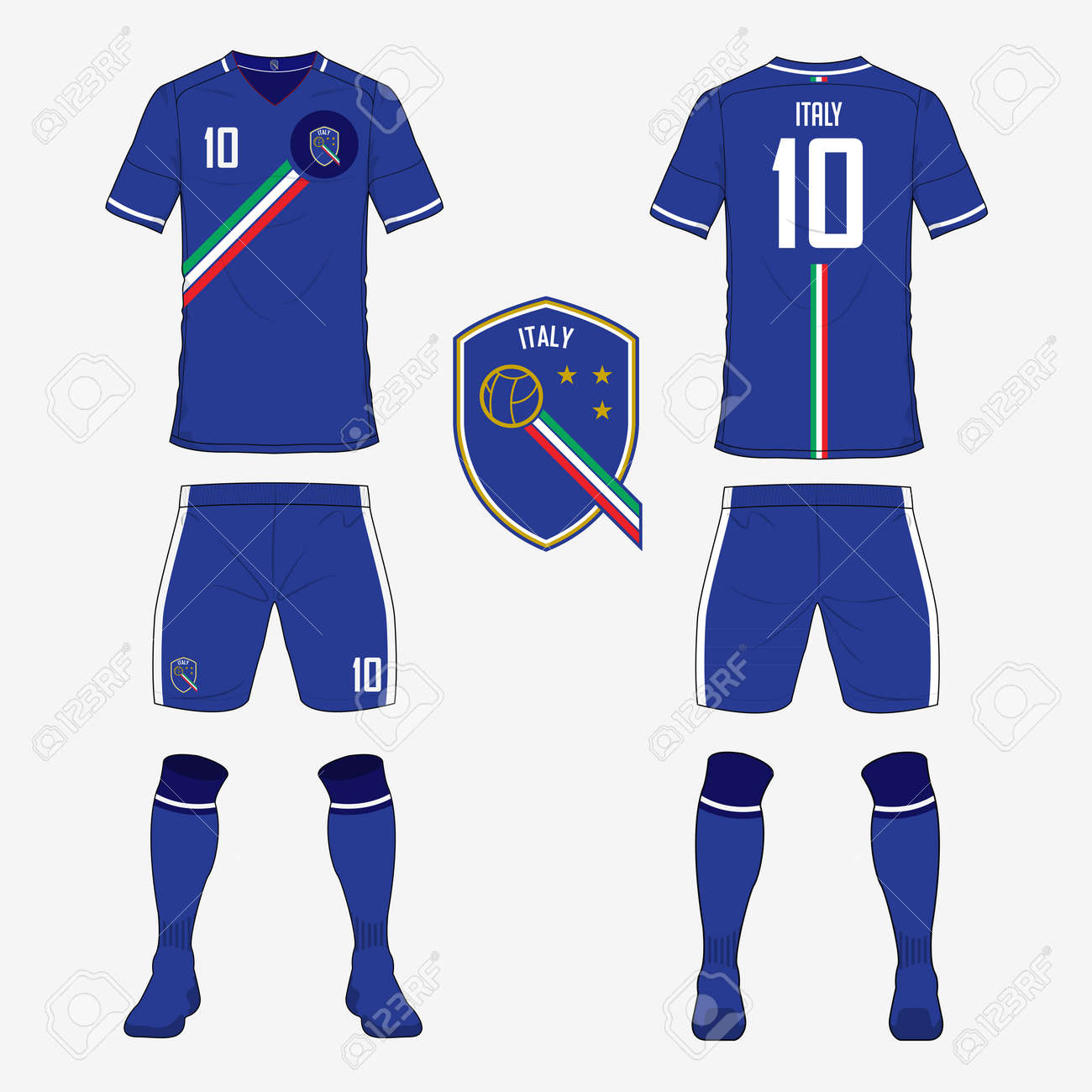 newest collection 9da75 5d368 Set of soccer jersey or football kit template for Italy national..