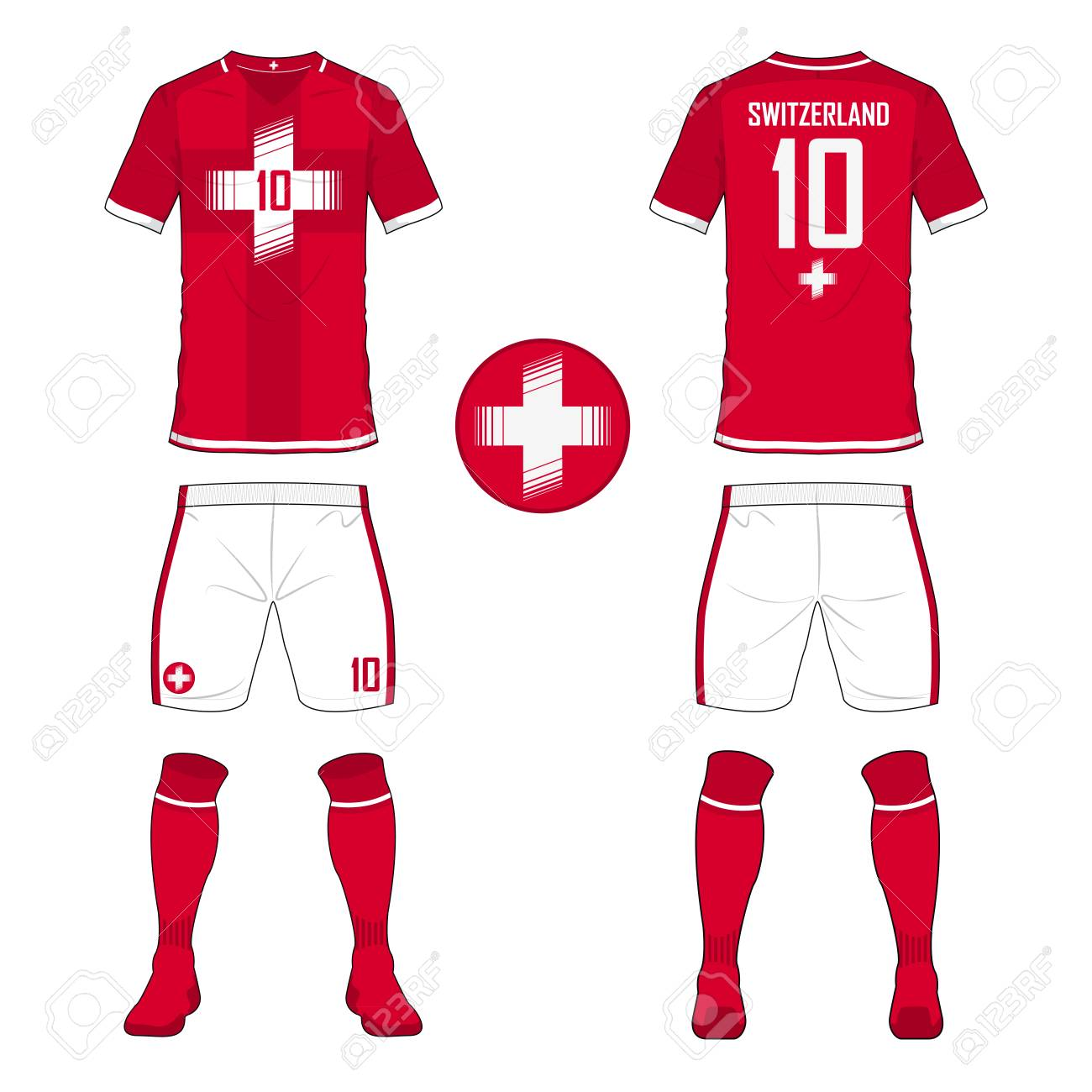 db9e341b0 Vector Illustration. Set of soccer jersey or football kit template for  Switzerland national football team. Front and