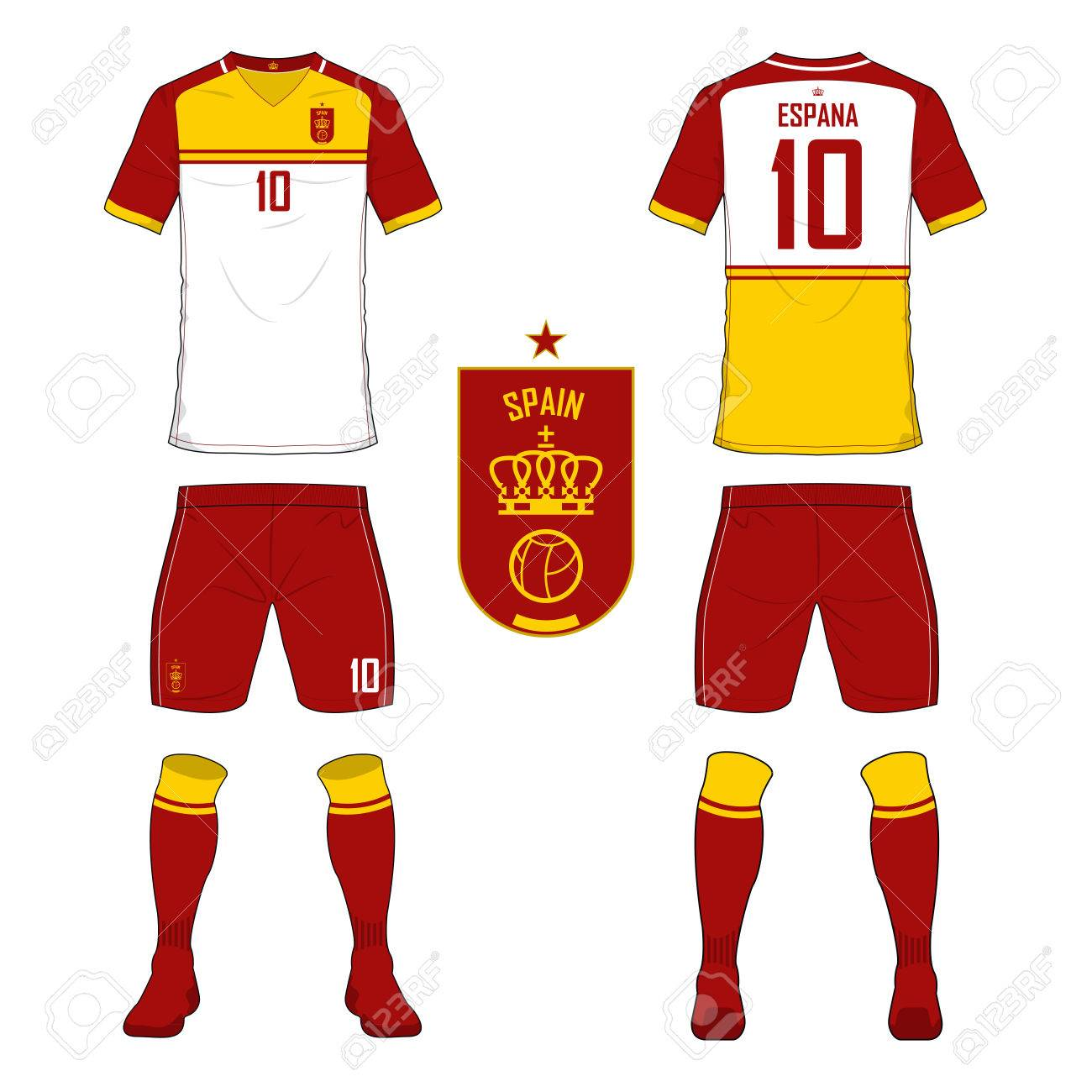 da5f45c538d ... set of soccer jersey or football kit template for spain national  football team. front and