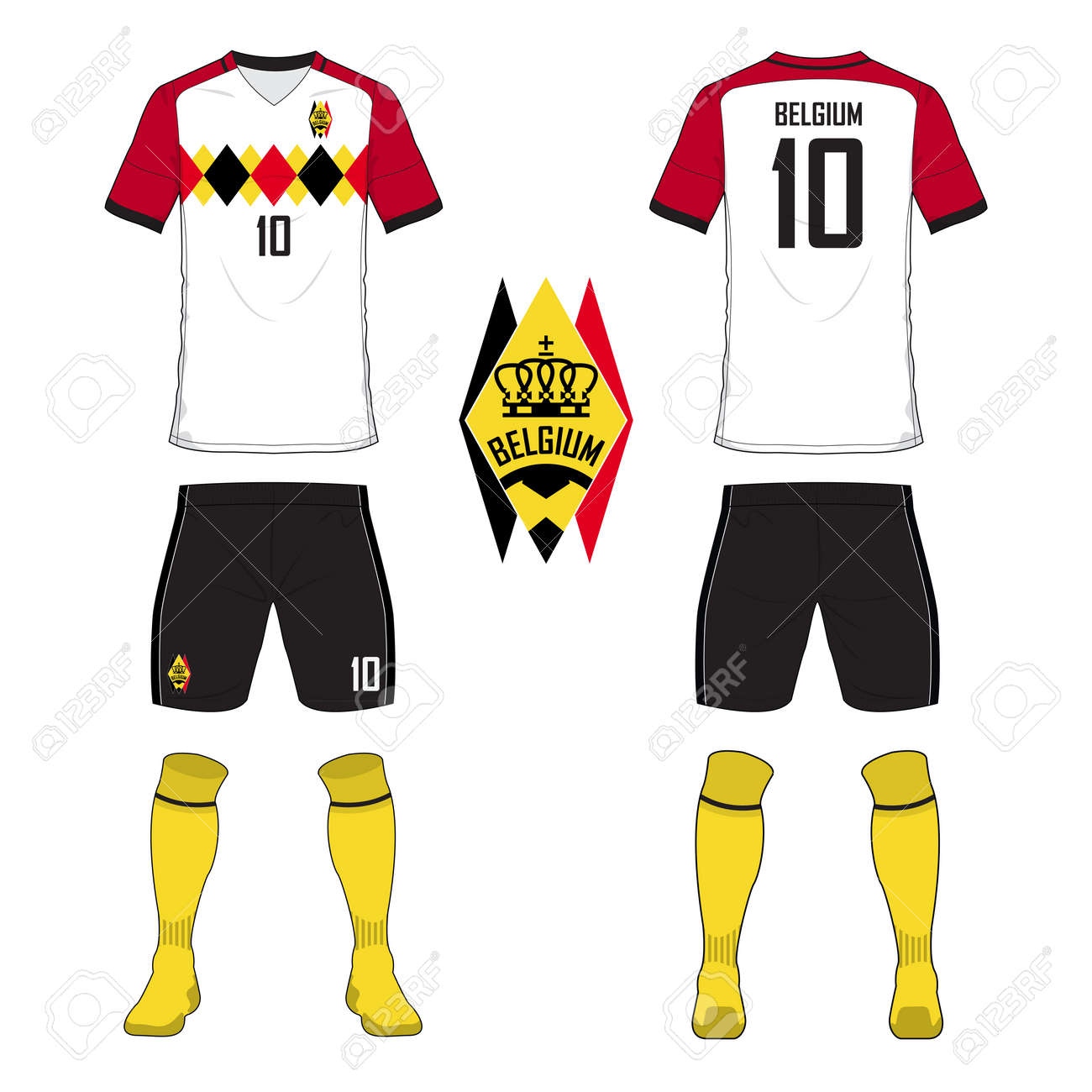 da5faa545 Set of soccer jersey or football kit template for Belgium national football  team. Front and