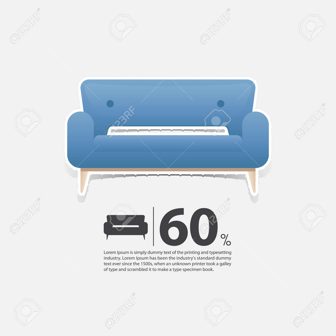 Sofa In Flat Design For Living Room Interior Minimal Couch Icon Royalty Free Cliparts Vectors And Stock Illustration Image 74645919