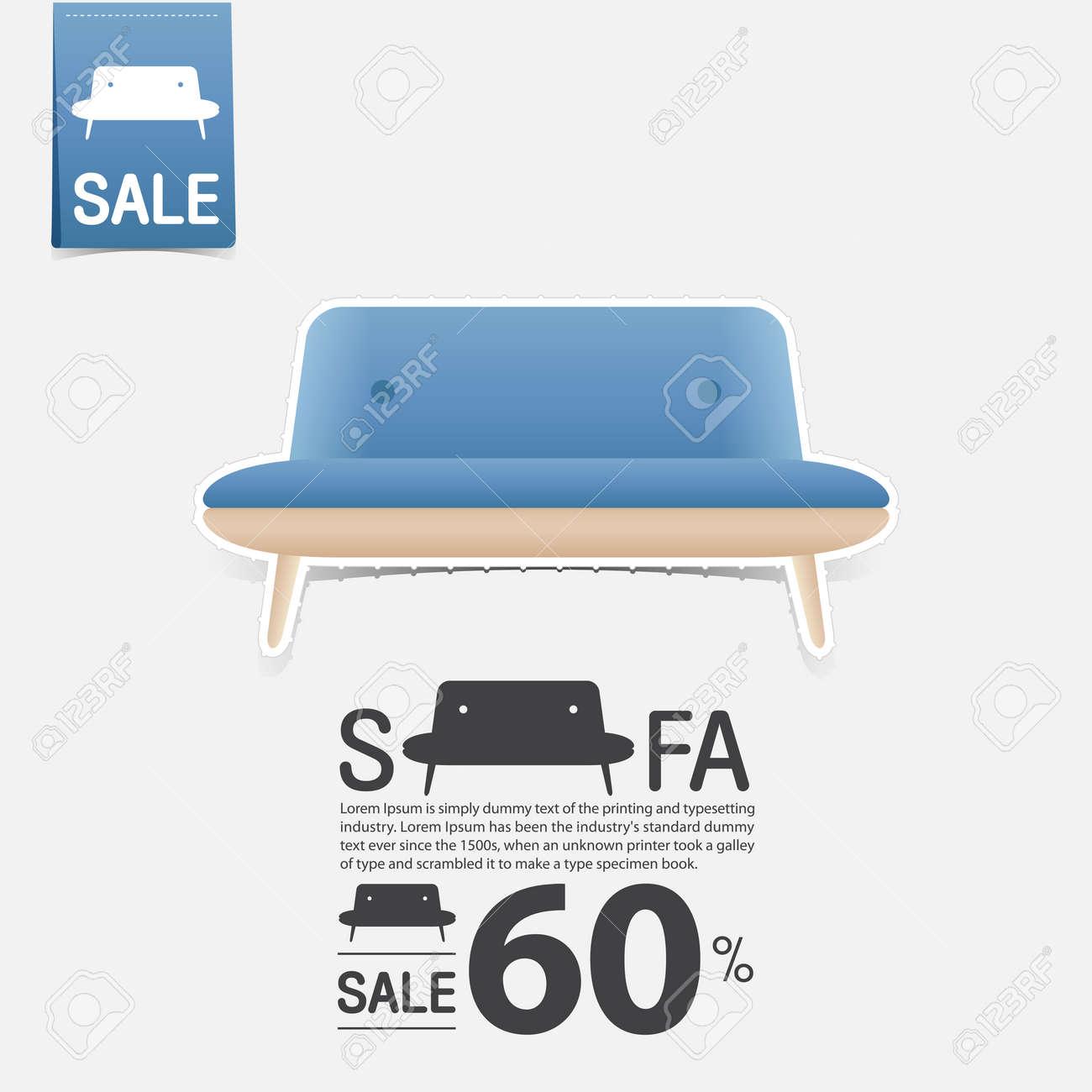 Sofa In Flachem Design Für Wohnzimmer Interieur. Minimal Couch Icon Für  Möbel Verkauf Poster.