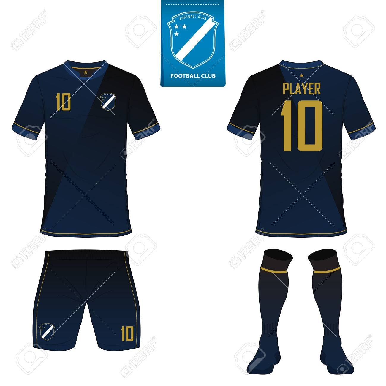 Set of soccer kit or football jersey template for football club. Flat football logo on blue label. Front and back view soccer uniform. - 75492740