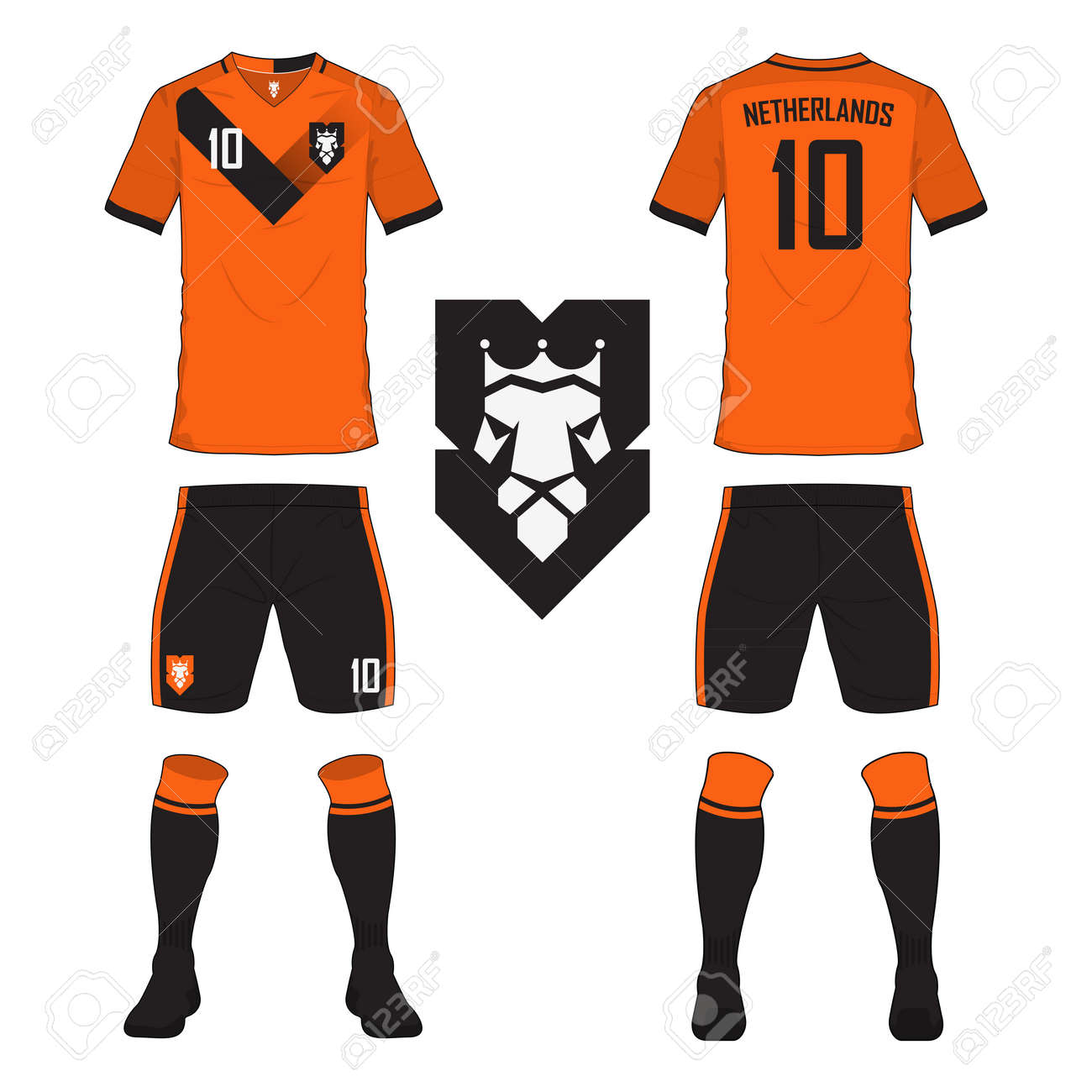 Set of soccer jersey or football kit template for Netherlands national  football team. Front and c50fb5c11