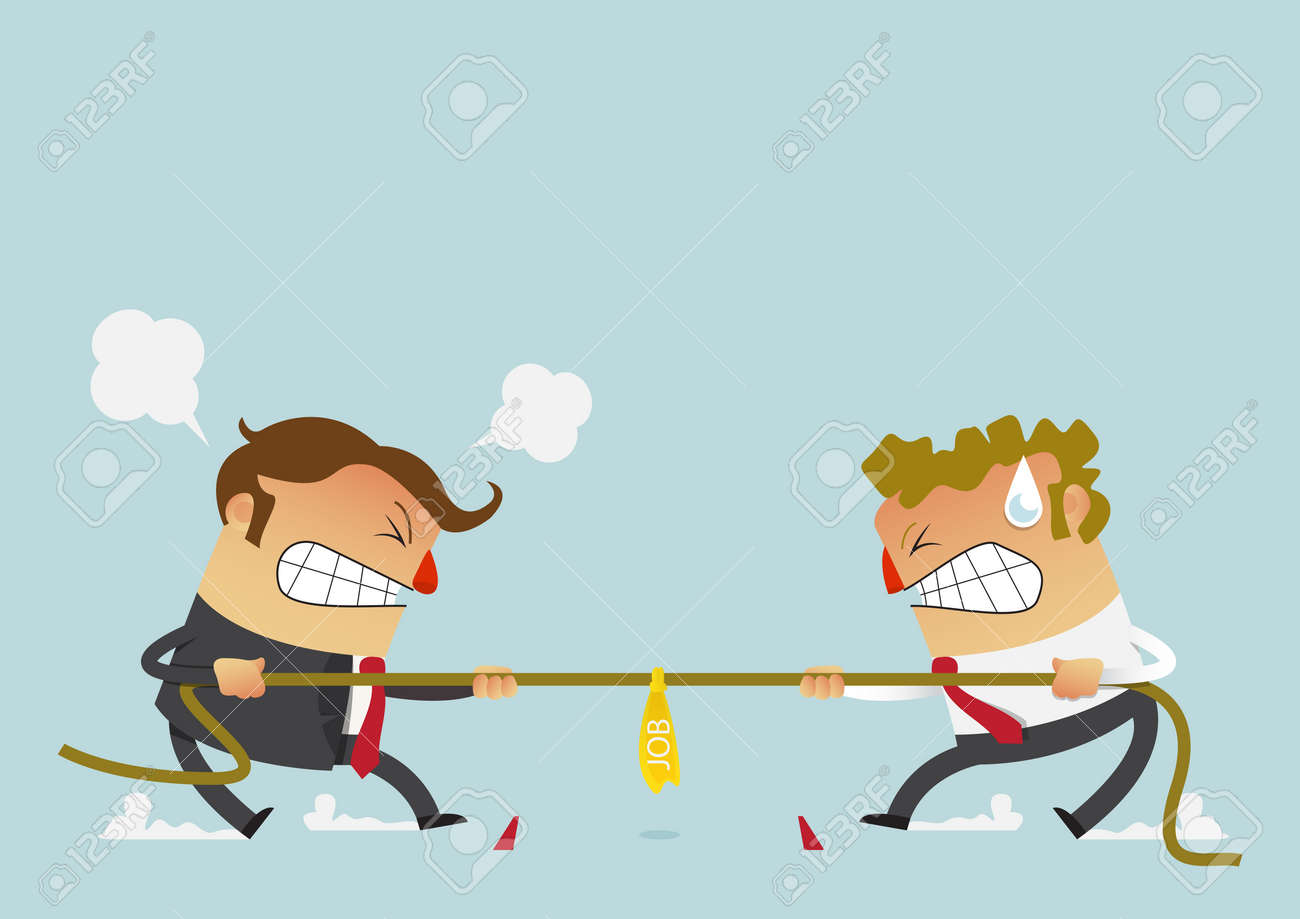 Businessman in career race. Two businessman fighting in the tug of war competition that could just define their careers. Cartoon character in flat design. Vector Illustration. - 78175179