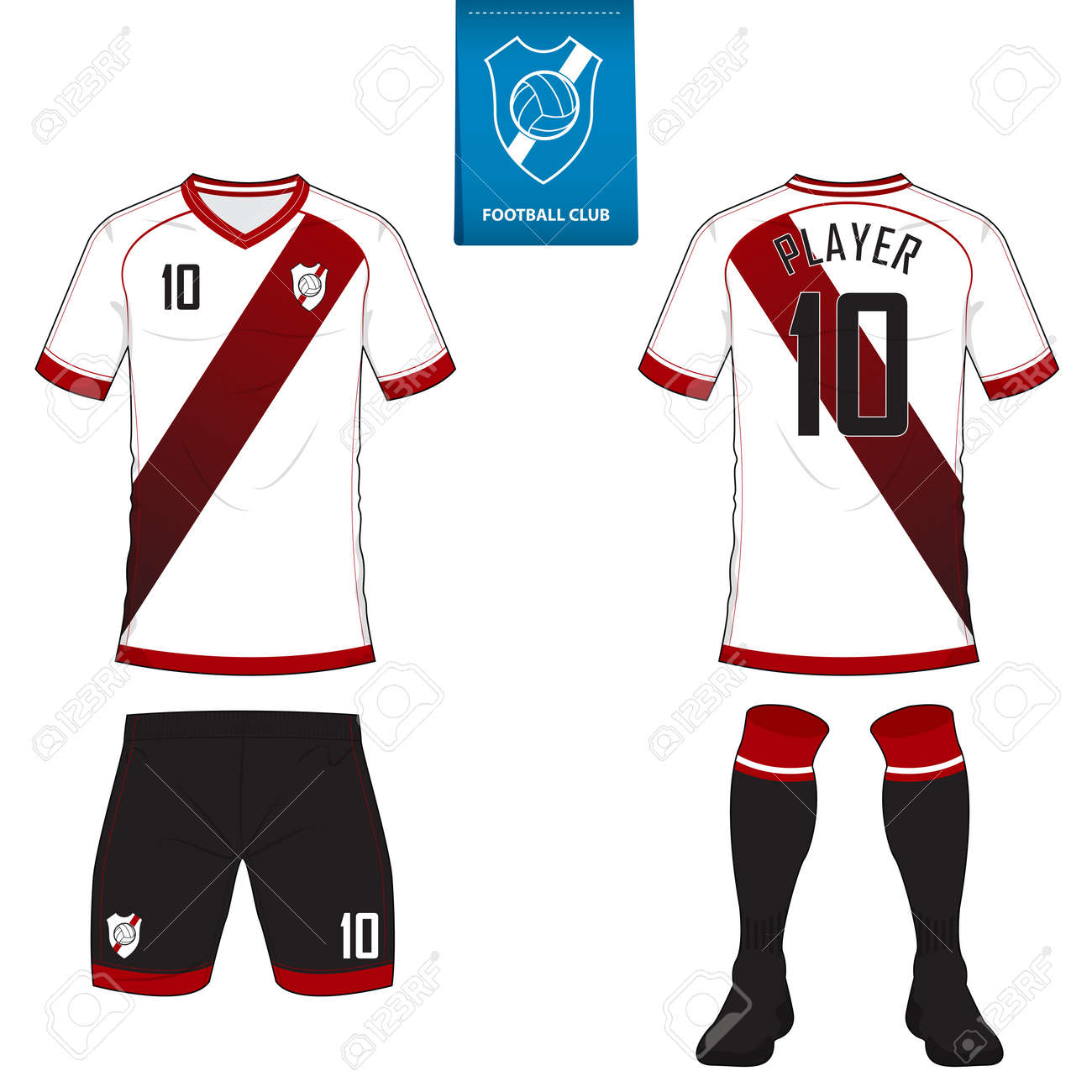 Set Of Soccer Kit Or Football Jersey Template For Club Short Sleeve Shirt