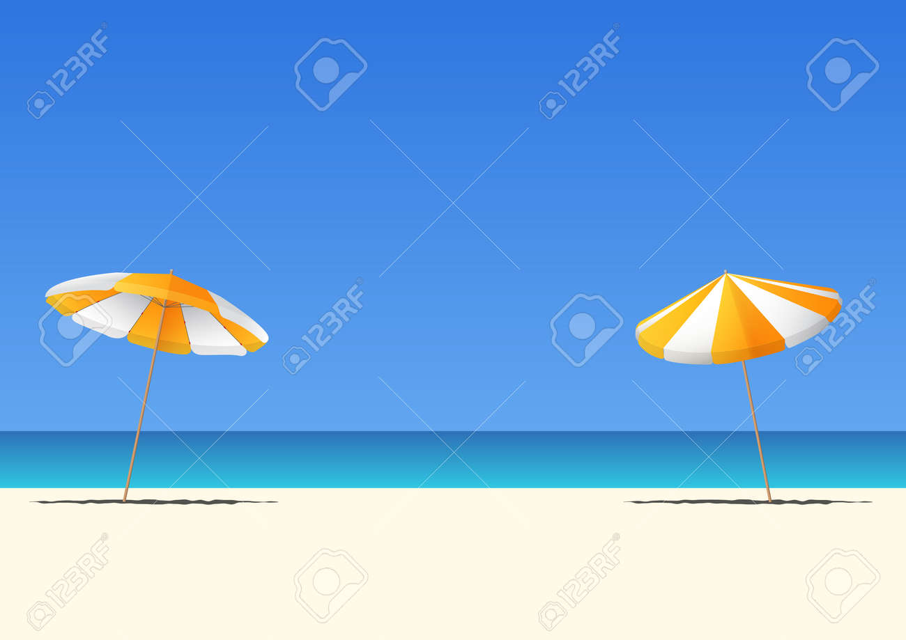 Summer beach and orange beach umbrella on blue gradient sky background with copy space for your text. Vector Illustration. - 80338272
