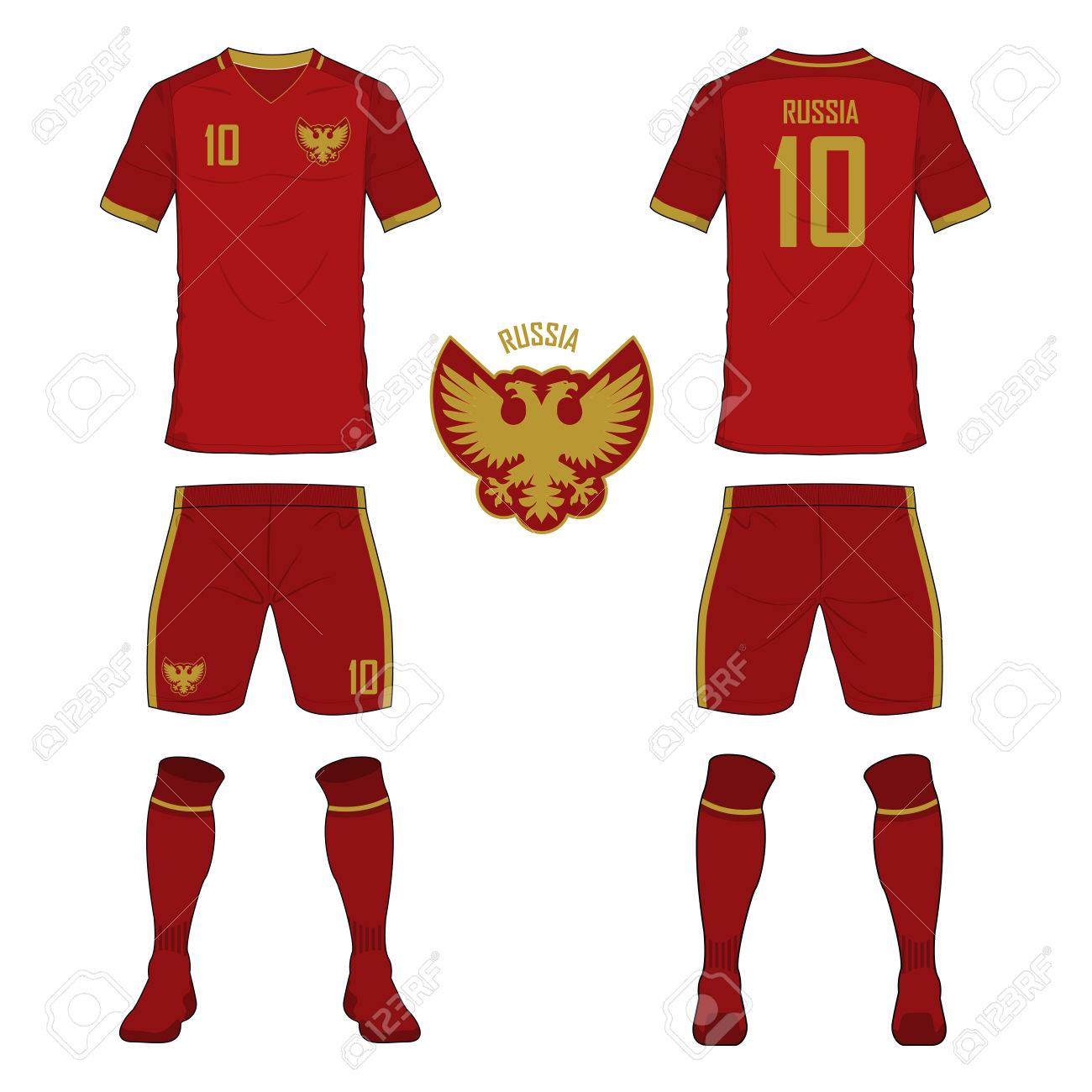 new product ec3e2 fc8c3 Set of soccer jersey or football kit template for Russia national..