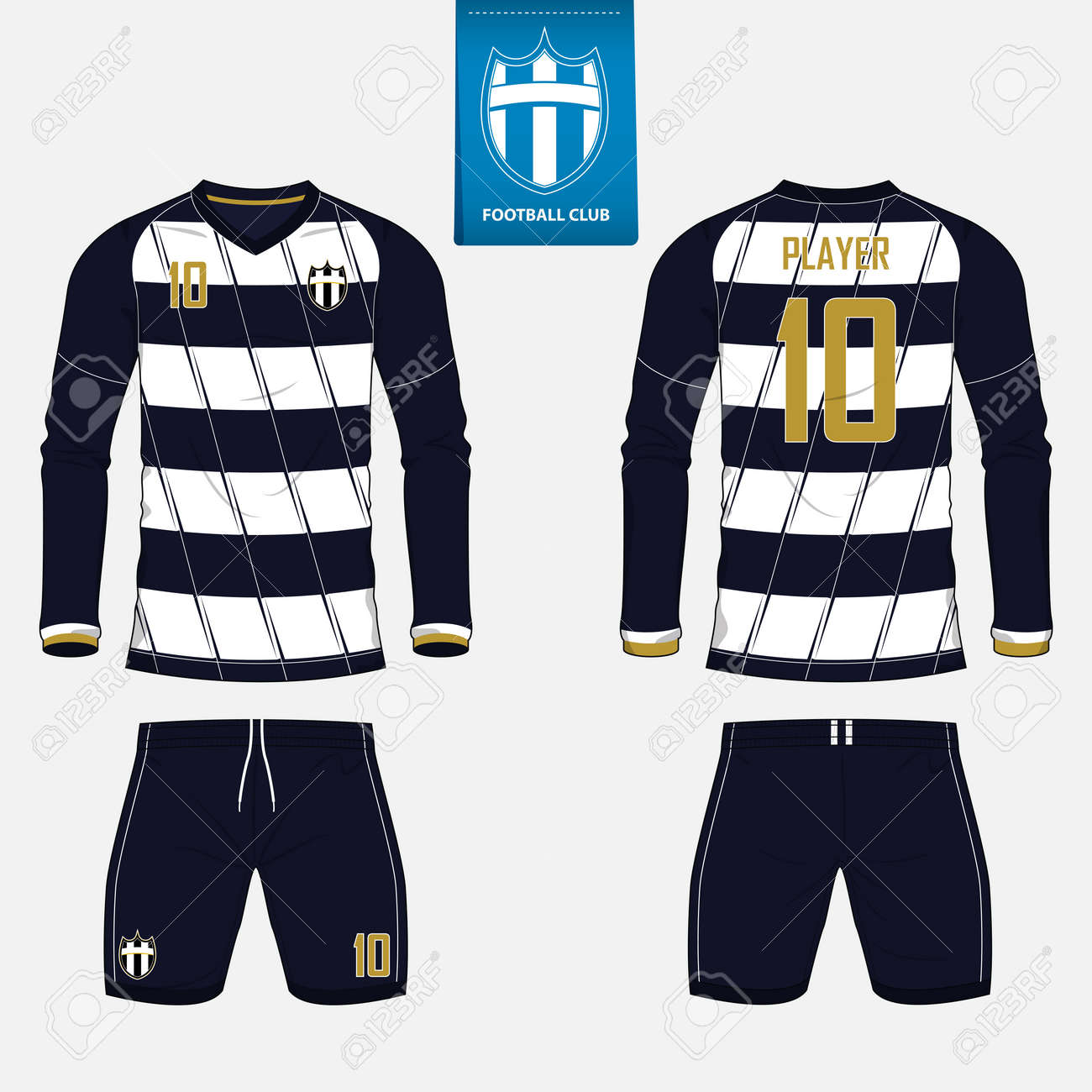 wholesale dealer dafbf b325a Set of long sleeve soccer jersey or football kit template for..