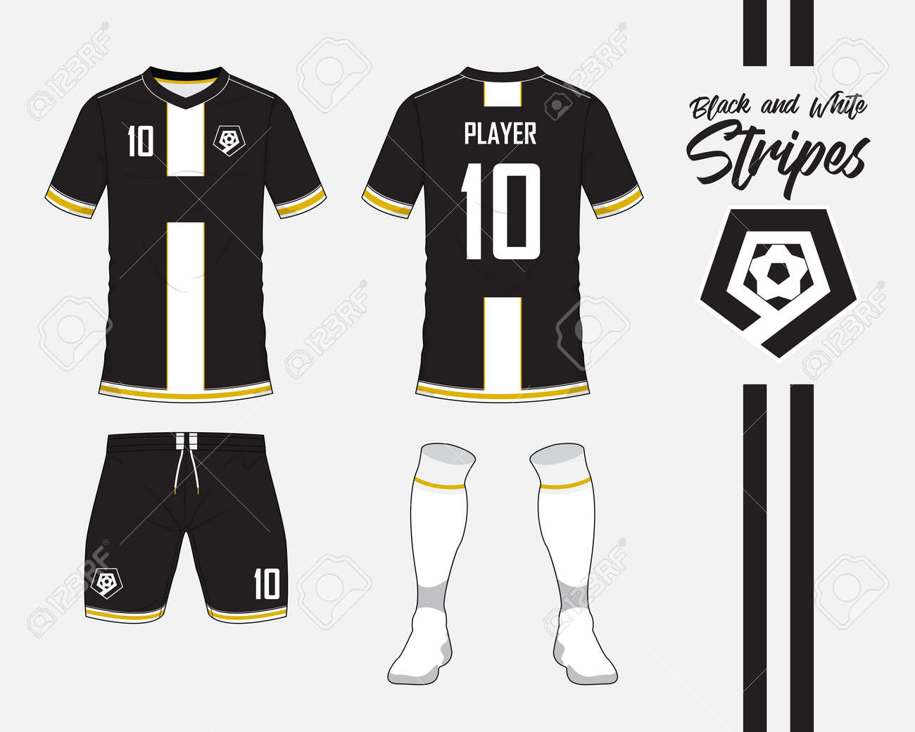 6e74a38d558a Soccer jersey or football kit collection in black and white stripes  concept. Football shirt mock