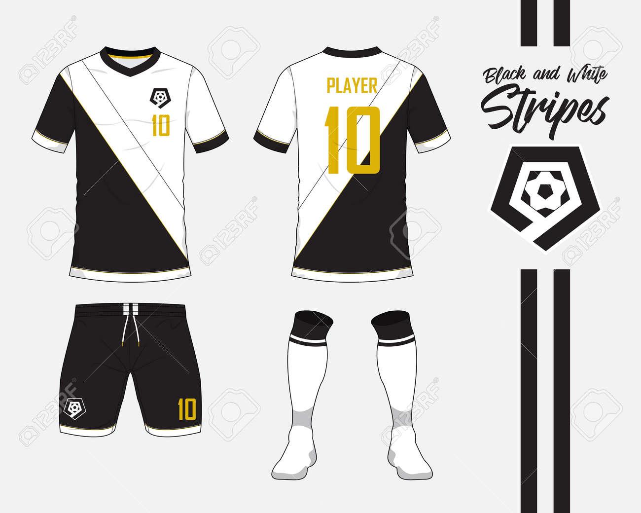 Jersey De Fútbol O Colección De Kit De Fútbol En Concepto De Rayas Blanco Y  Negro. Maqueta De La Camisa Del Fútbol Para Arriba. Vista Delantera Y  Trasera ... 5beca3a8b533b