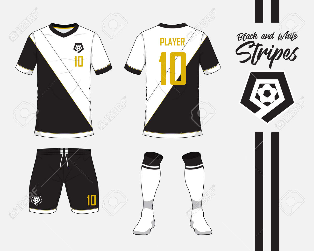 Soccer Jersey Or Football Kit Collection In Black And White Stripes Royalty Free Cliparts Vectors And Stock Illustration Image 83922360