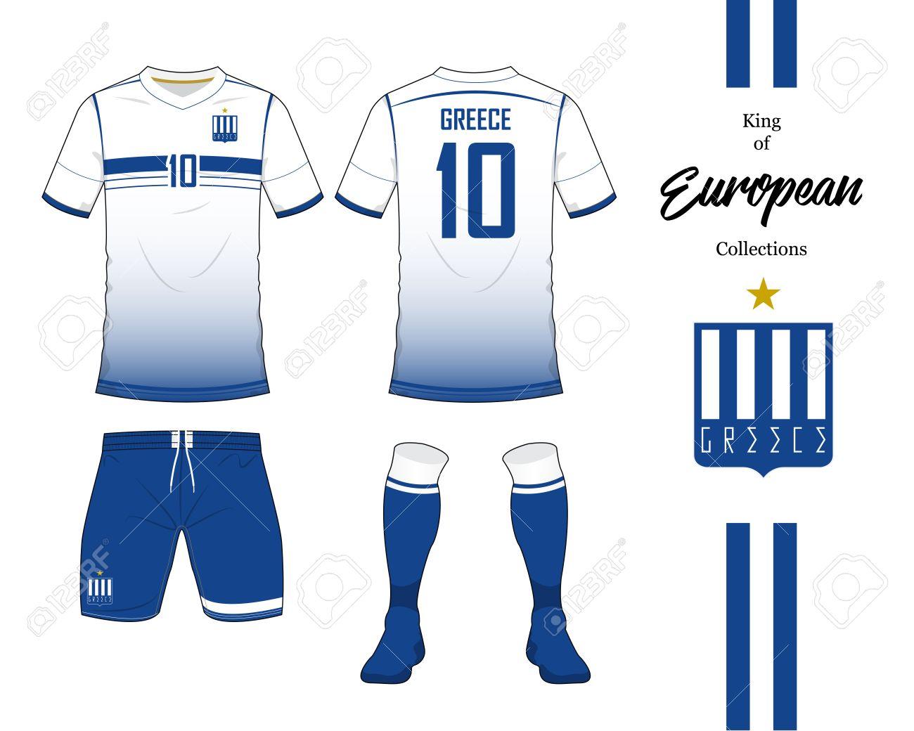Foto de archivo - Fútbol Grecia equipo nacional uniforme. Jersey del fútbol  o plantilla del kit del balompié. Logotipo de fútbol en diseño plano. 2db2e78081a9c