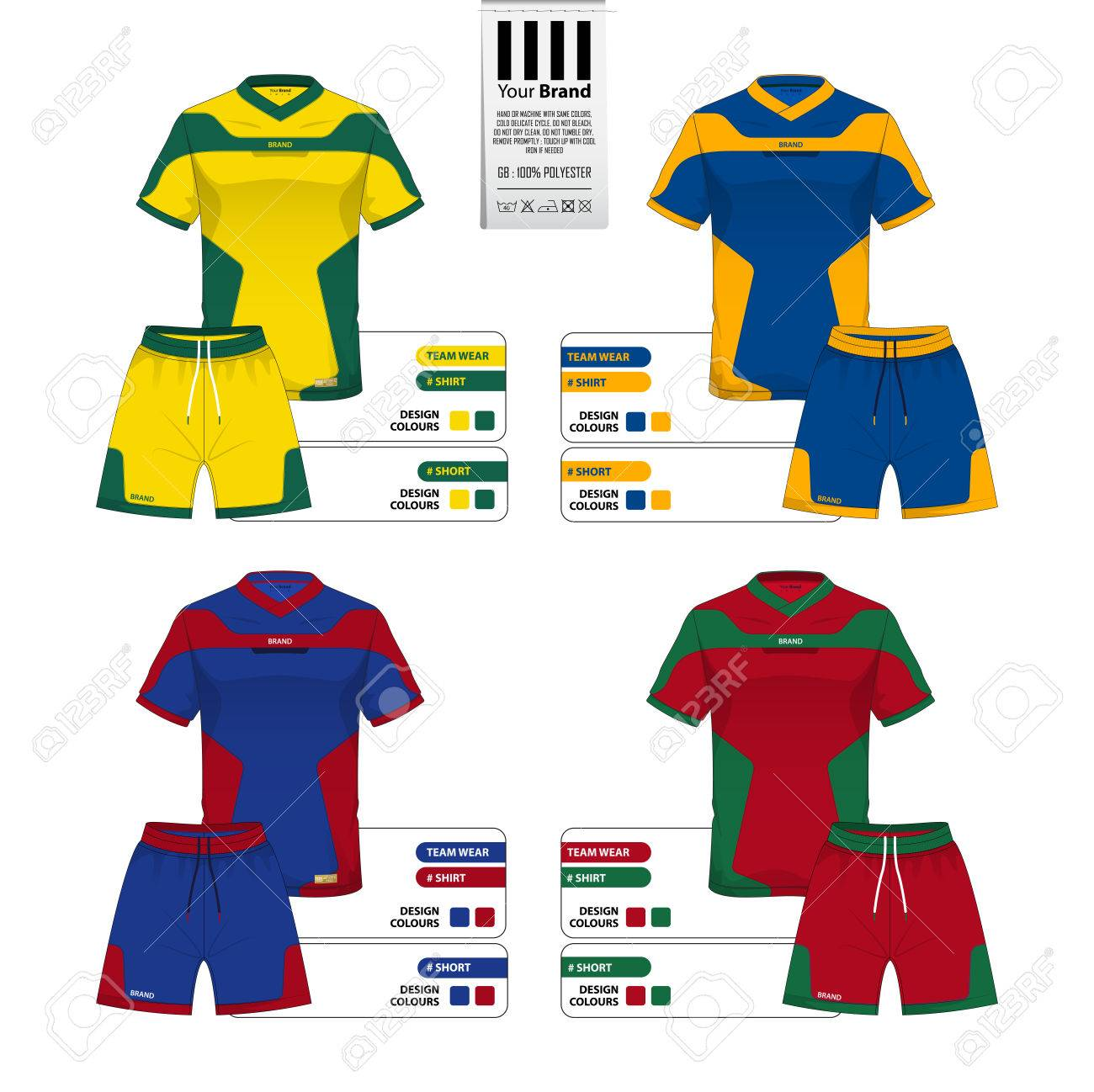 26797a682 Set of soccer jersey or football kit and short pant template for sportswear  catalog. Sportswear