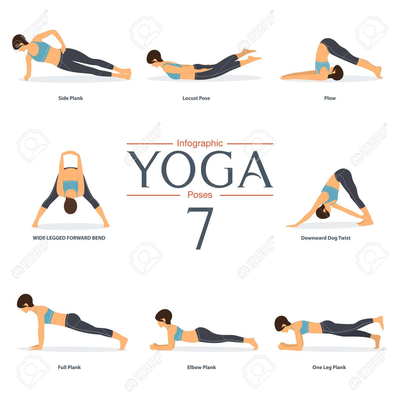 Set Of 8 Yoga Poses In Flat Design . Woman Figures In Sportswear ...