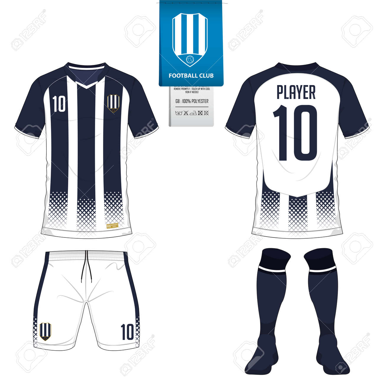 Soccer jersey or football kit, short, sock template for sport club. Football t-shirt mock up. - 86636730