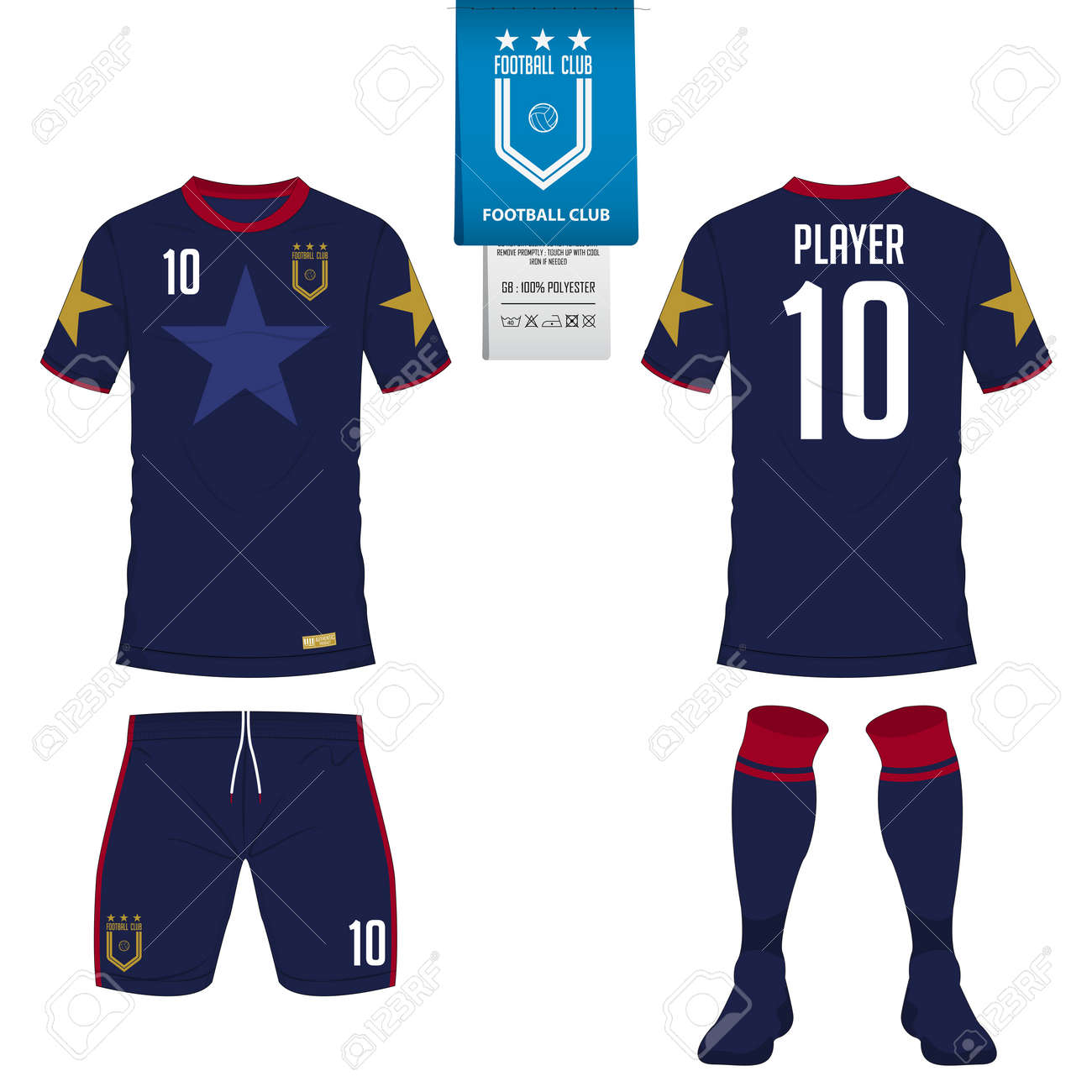 Soccer jersey or football kit, short, sock template for sport club. Football t-shirt mock up. Front and back view soccer uniform. Flat football logo on blue label. Vector Illustration. - 86924343