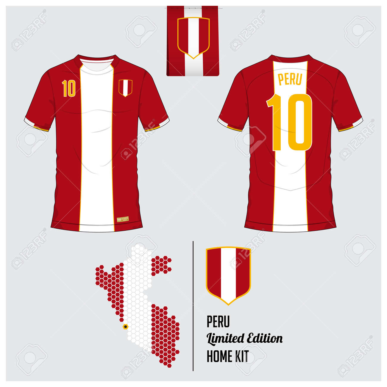 6b4bd4665 Soccer jersey or football kit, template for Peru National Football Team.  Front and back