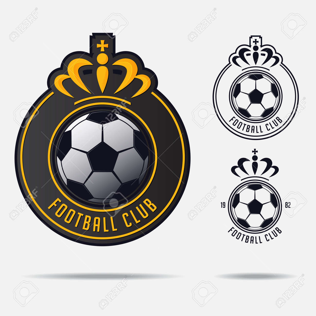 Soccer emblem or Football Badge Logo Design for football team. Minimal design of golden crown and classic soccer ball. Football club logo in black and white icon. Vector Illustration. - 87431230