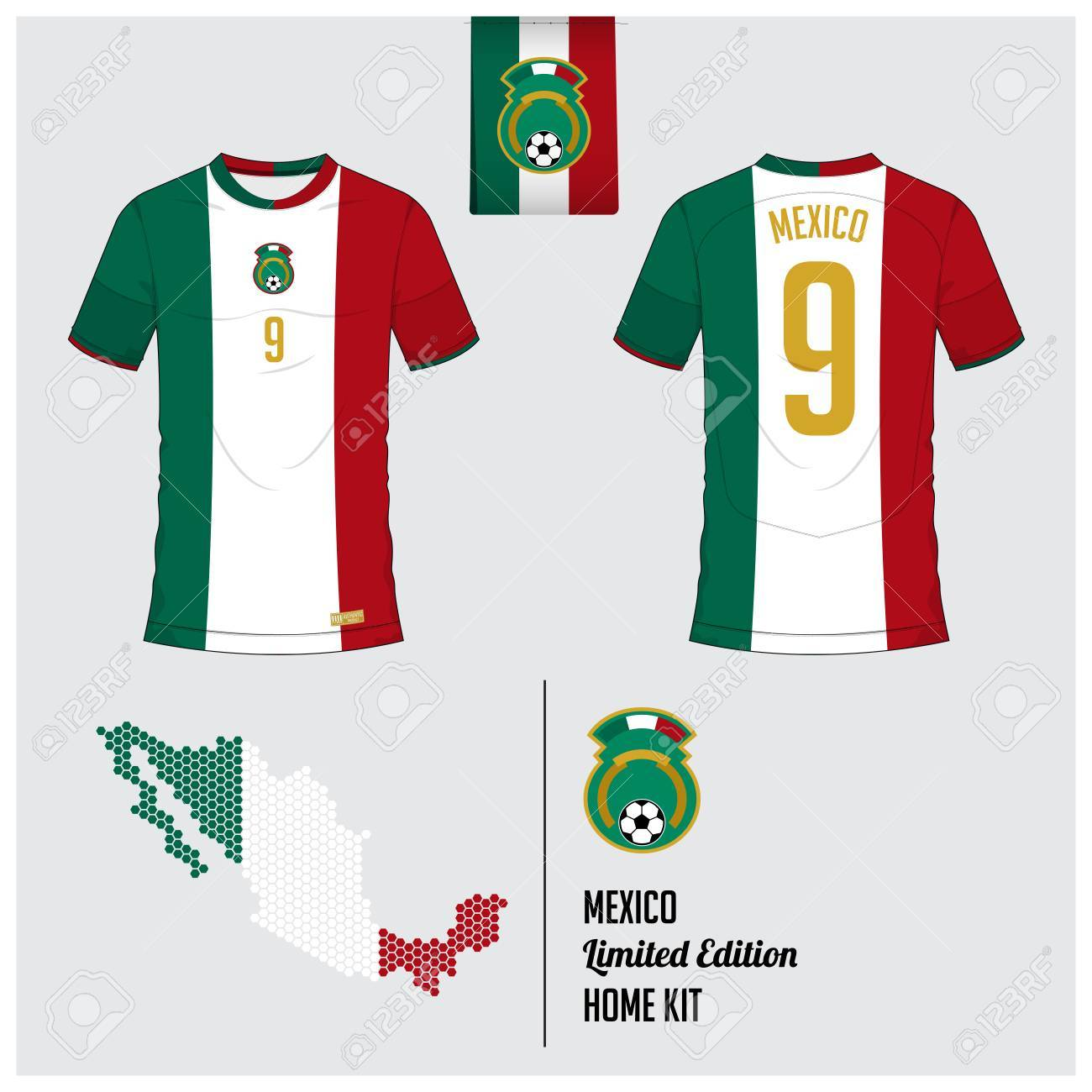 2948548ac5c Soccer jersey or football kit, template for Mexico National Football Team.  Front and back