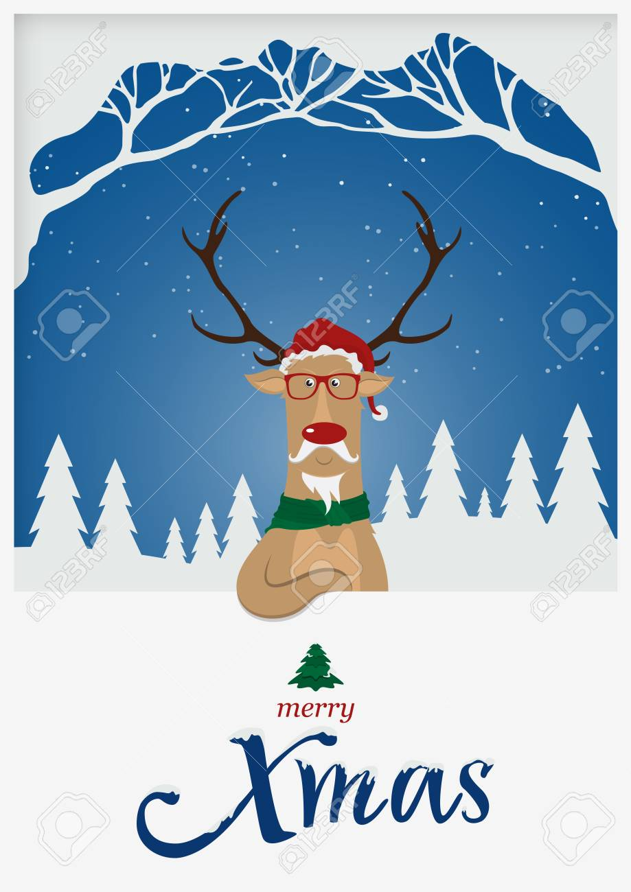 Happy Merry Christmas Greeting Card Reindeer Red Nose Standing
