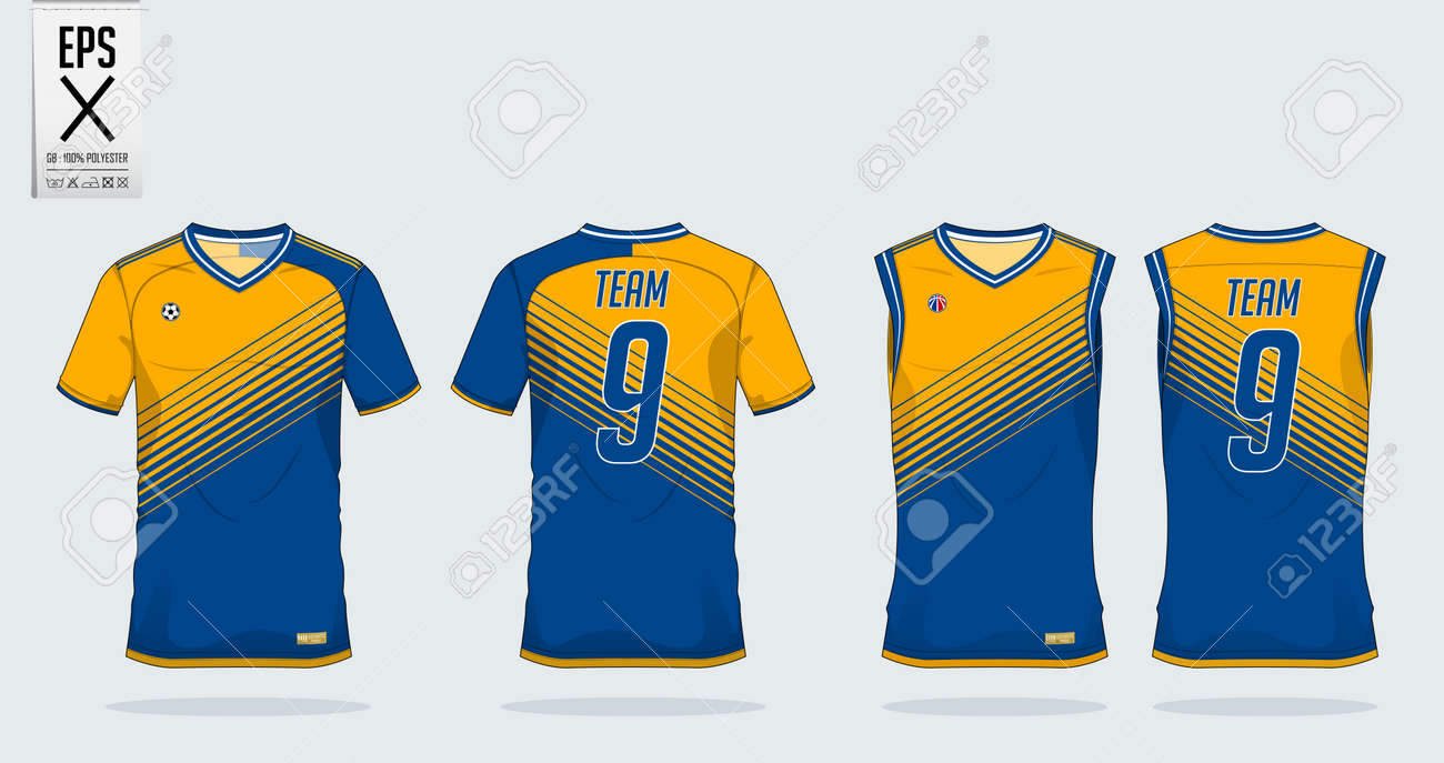 d5777c174 T-shirt sport design template for soccer jersey, football kit and tank top  for basketball jersey. T-shirt uniform in front view and back view. Sportswear  t ...