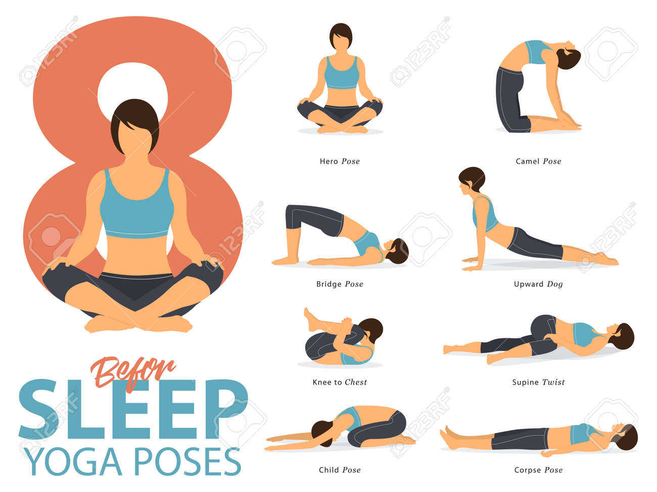 A set of yoga postures female figures for Infographic 8 Yoga poses for exercise before sleep in flat design. Vector Illustration. - 88069584