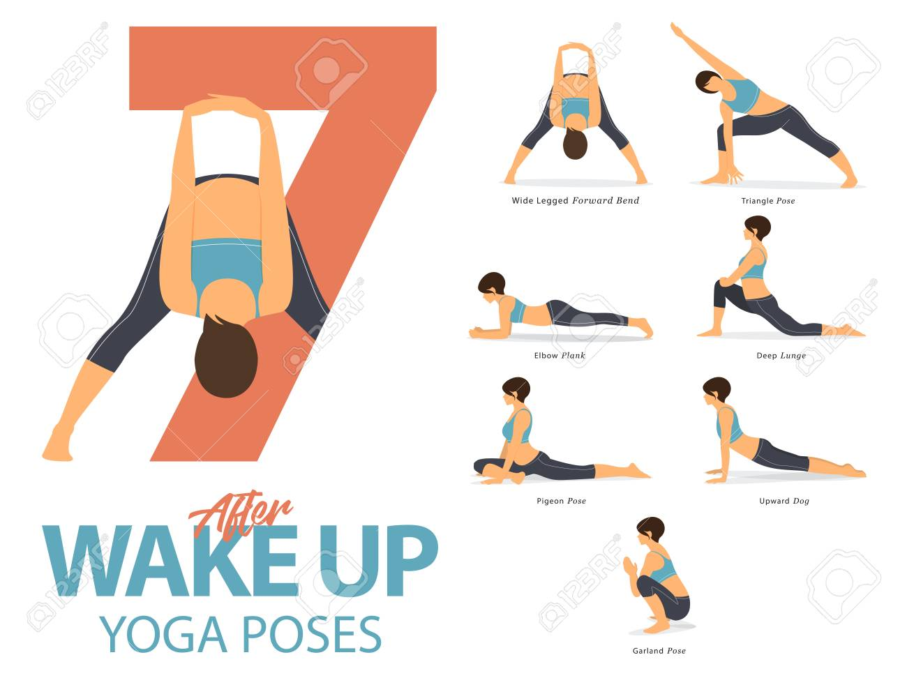 A set of yoga postures female figures for Infographic 7 Yoga poses for exercise after wake up in flat design. Vector Illustration. - 88069585