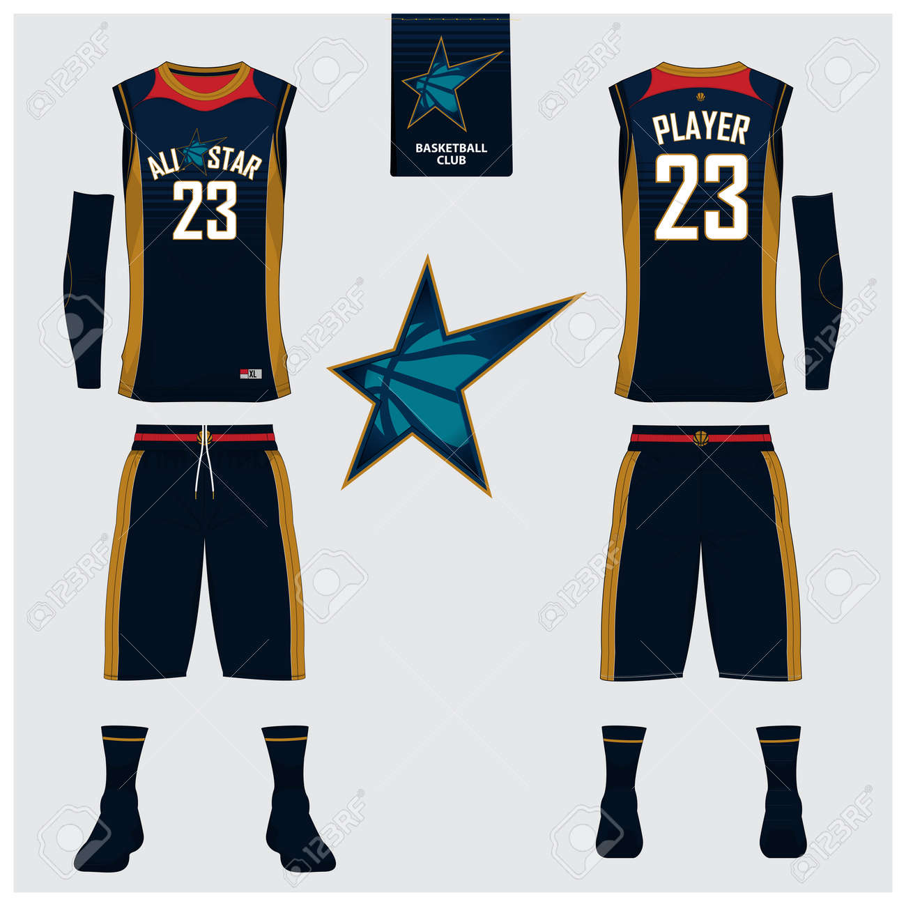 Basketball Uniform Or Jersey, Shorts, Socks Template For Basketball ...