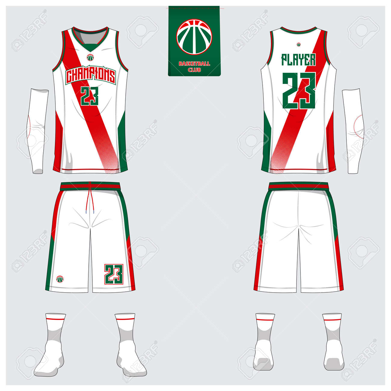 Basketball-Uniform Oder Sport-Trikot, Shorts, Socken Vorlage Für ...