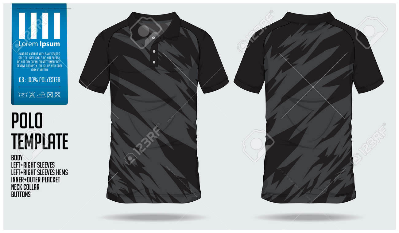 Polo t shirt sport design template for soccer jersey, football kit or sport club. Sport uniform in front view and back view. T-shirt mock up for sport club. Vector Illustration. - 93890199