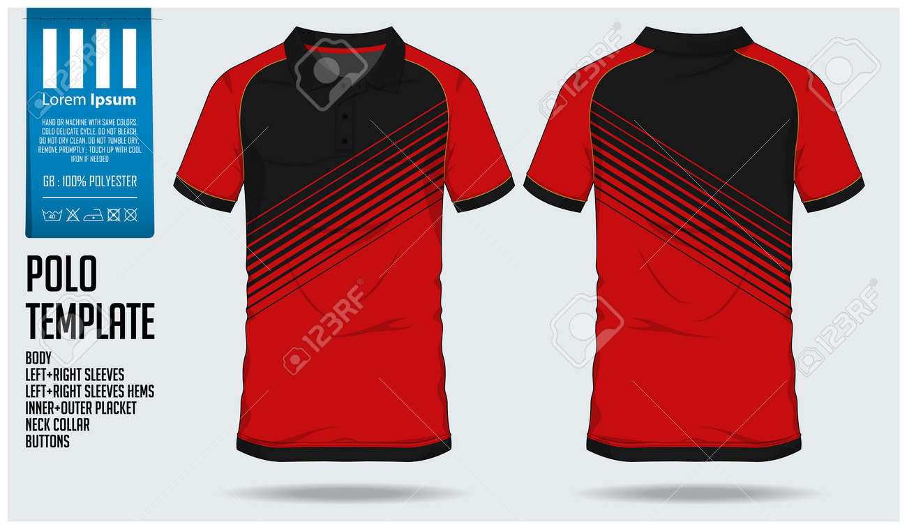 Polo t shirt sport design template for soccer jersey, football kit or sport club. Sport uniform in front view and back view. T-shirt mock up for sport club. Vector Illustration. - 93889918