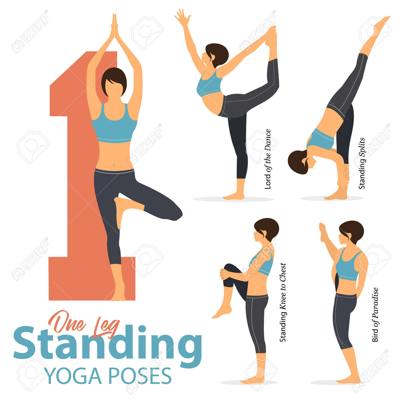 A Set Of Yoga Postures Female Figures For Infographic 5 Yoga Royalty Free Cliparts Vectors And Stock Illustration Image 94980409