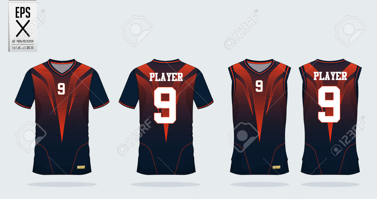 f6833025 Orange-black t-shirt sport design template for soccer jersey, football kit  and