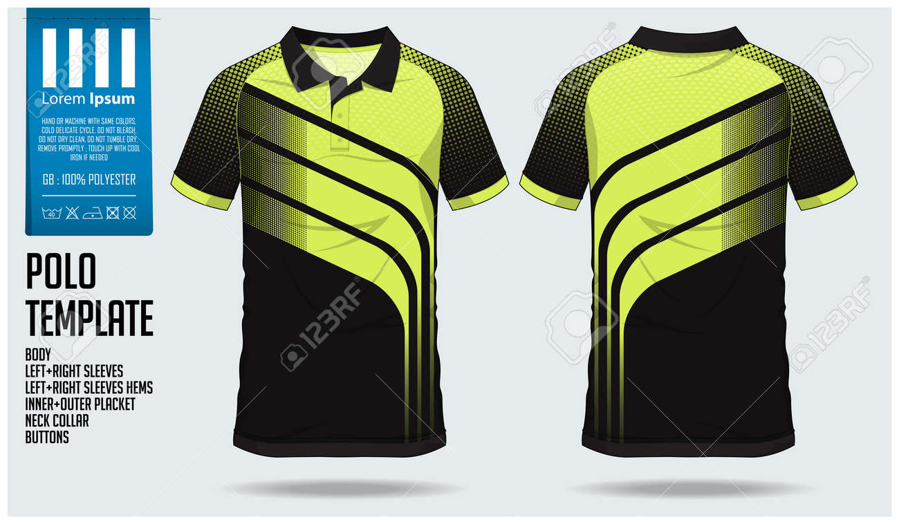 Green And Black Sports Design Polo Shirt Template Royalty Free