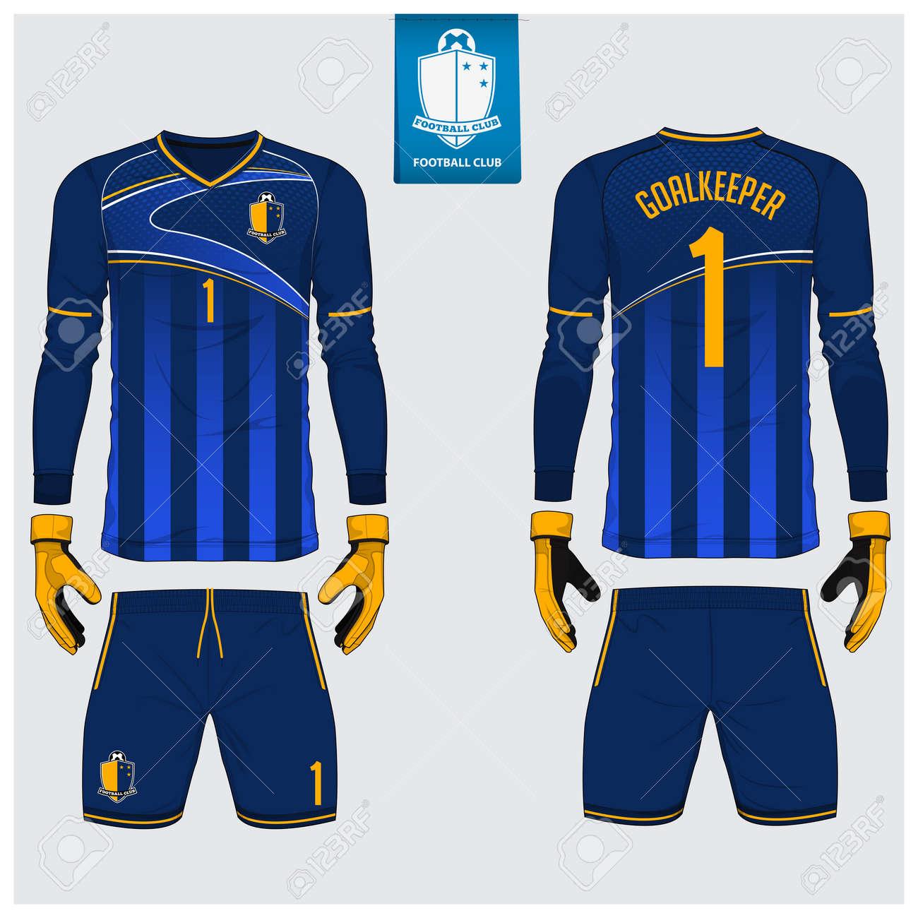 3e3fe18050a Goalkeeper jersey or soccer kit, long sleeve jersey, goalkeeper glove  template design. Sport