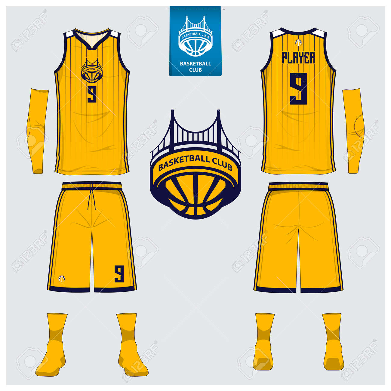 43b248d231f Vector Illustration. Basketball uniform or sport jersey, shorts, socks  template for basketball club. Front and